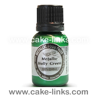 Metallic Holly Green  Paint for cake decorating