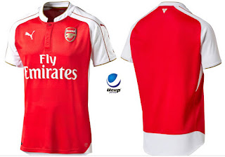 Jersey Arsenal Home 2015-2016 Tampak Depan Belakang