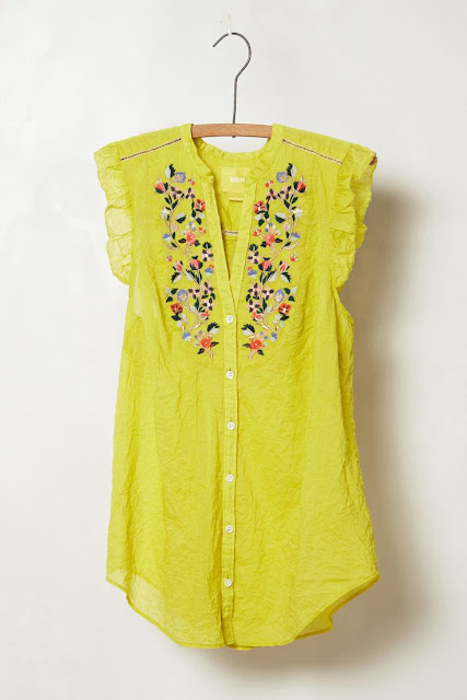 Embroidered collar features tassel ties and follows into a swingy trapeze body. Great for balmy summer nights and sunny days.
