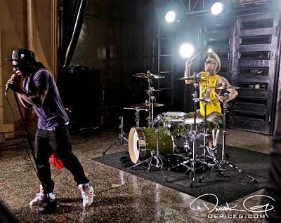 Imagen de Lil Wayne y Travis Barker en el rodaje del video de Can A Drummer Get Some ? del nuevo disco de Travis Barker llamado Give the drummer some