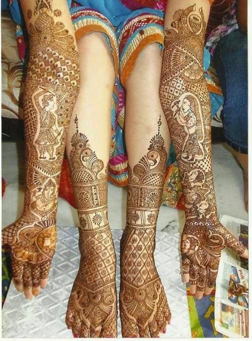 Rajasthani Mehandi Designs for legs and hands