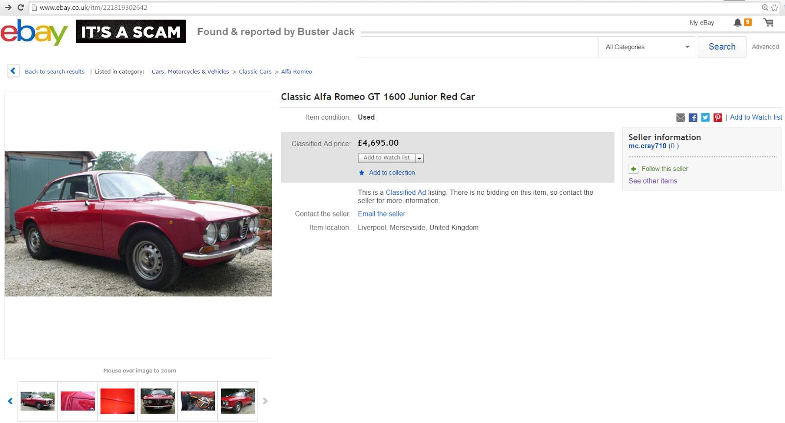 EBAY SCAM : Classic Alfa Romeo GT 1600 Junior Red Car   NOC58R ...