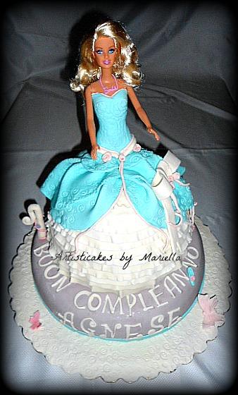 Torta per il primo anno di Agnese .Barbie Cinderella Princess Doll;