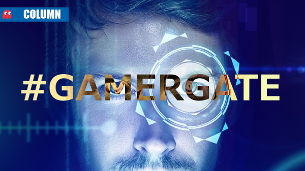 "Image of a white man's face with fancy computerized graphic overlay behind the transparent word ""#GAMERGATE"""
