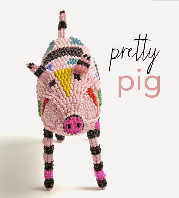 pretty pig beaded animals african art women's charity Monkeybiz Liz and Pip