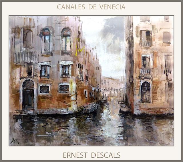 VENECIA-PINTURAS-CANAL-CANALES-PINTURA-PAISAJES-CUADROS-ITALIA-PINTOR-ERNEST DESCALS-