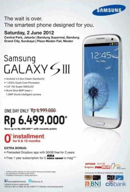 Peluncuran Samsung Galaxy S3 Galaxy S 3 dengan harga murah diskon