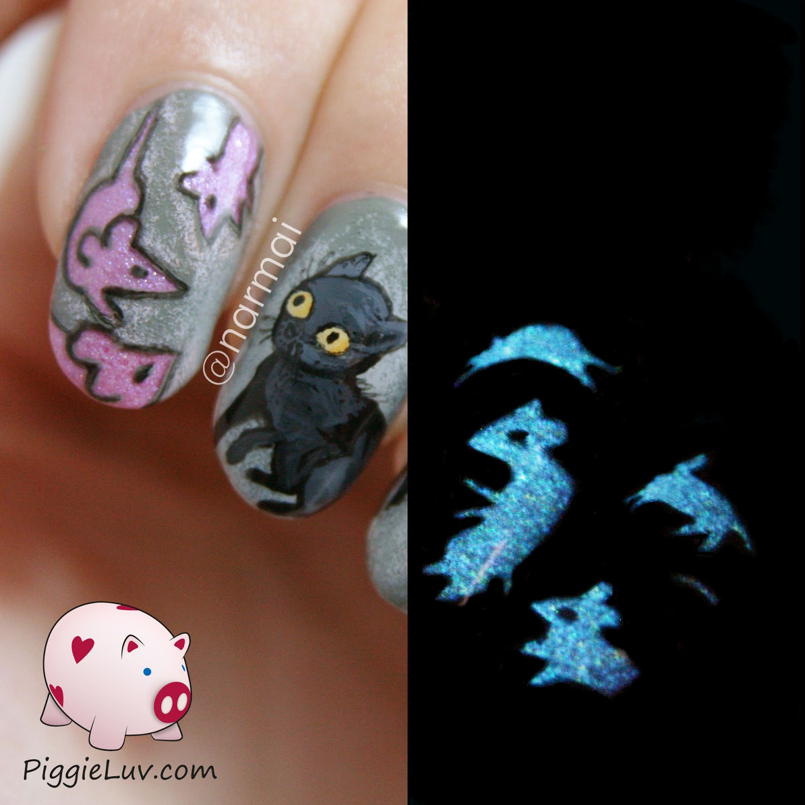 Piggieluv a cats nightmare glow in the dark nail art with hey babes this poor kitty is being haunted by pink ghost mice no less the gorgeous glow is coming from one of my gothic gala lacquers polishes prinsesfo Image collections