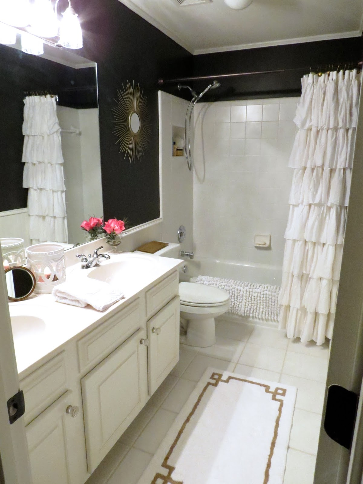 TiffanyD Our Little Black Satin Bathroom