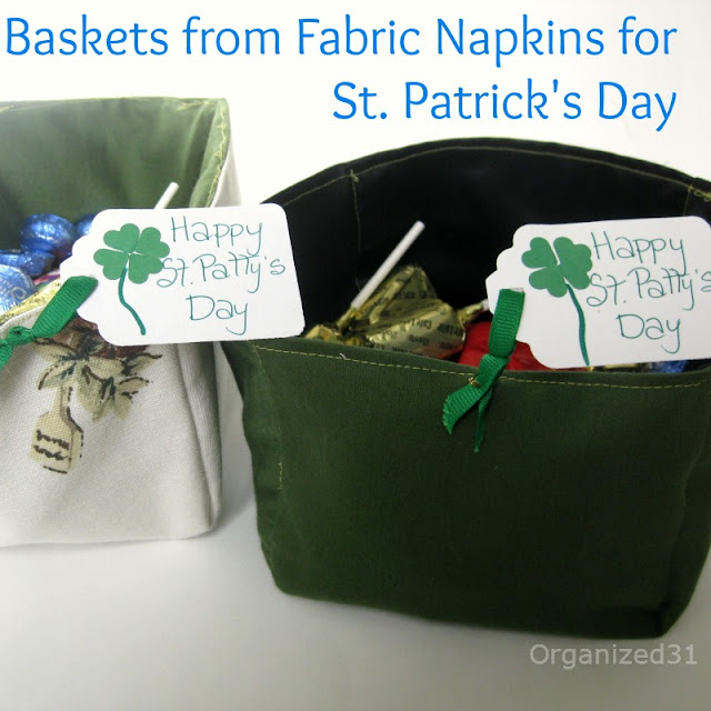 Organized 31 - St. Patrick's Day Baskets from Upcycled Fabric Napkins