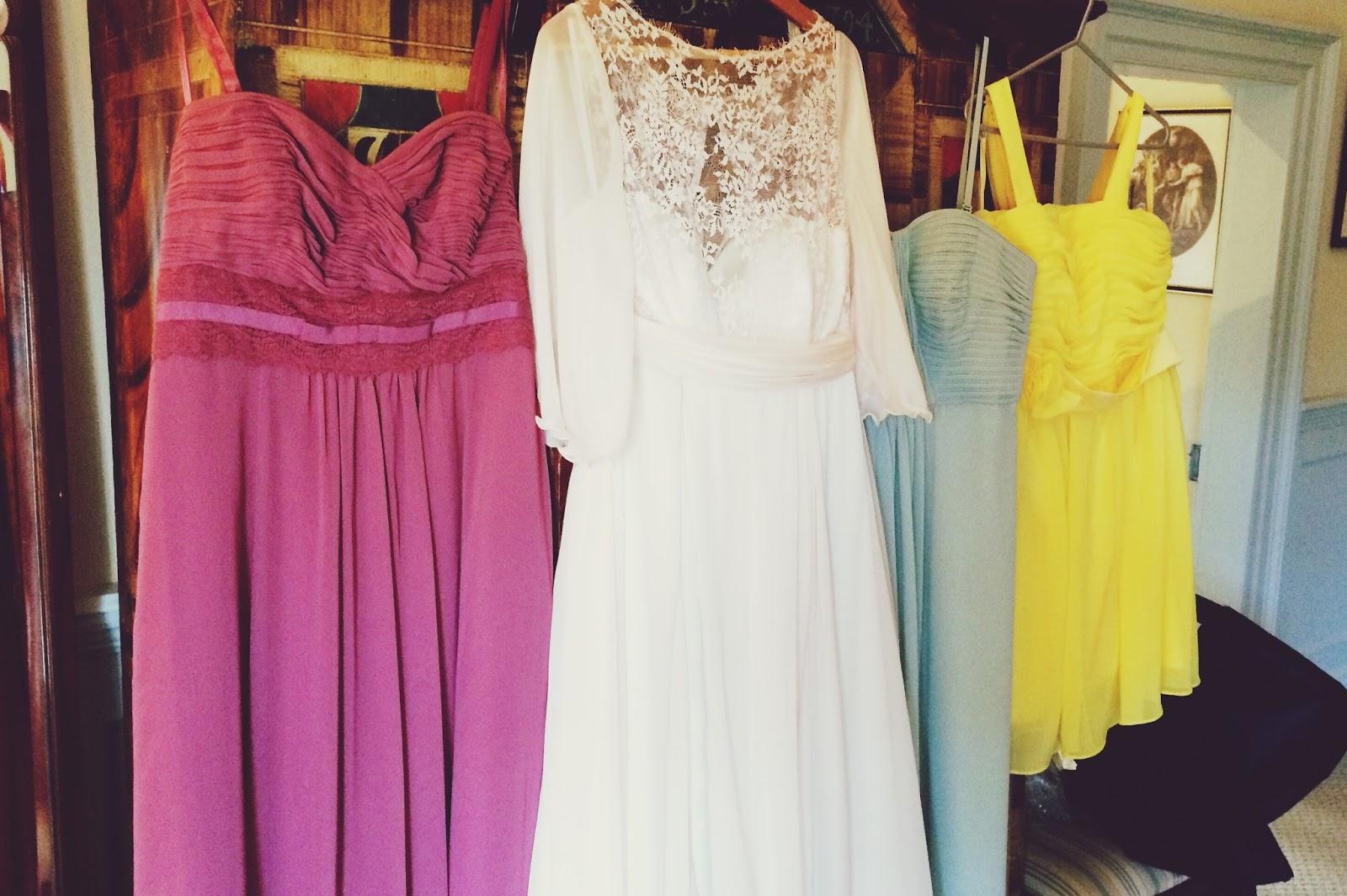 Wedding dress with bridesmaids dresses - rustic wedding inspiration