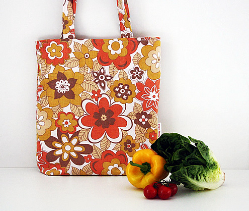 vintage flowers grocery bag