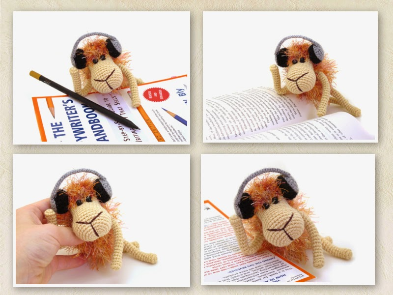 crochet orange sheep in headphones amigurumi pattern