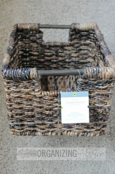 Small milk crate basket from Target :: OrganizingMadeFun.com