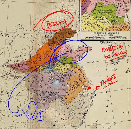 Mapa indicando a província de Qi (ou Ch'i), no Período das Primaveras e Outonos da China Antiga