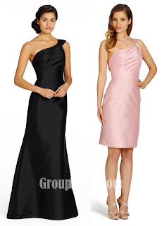 Draped One Shoulder Dlack Silky Taffeta Bridesmaid Dresses