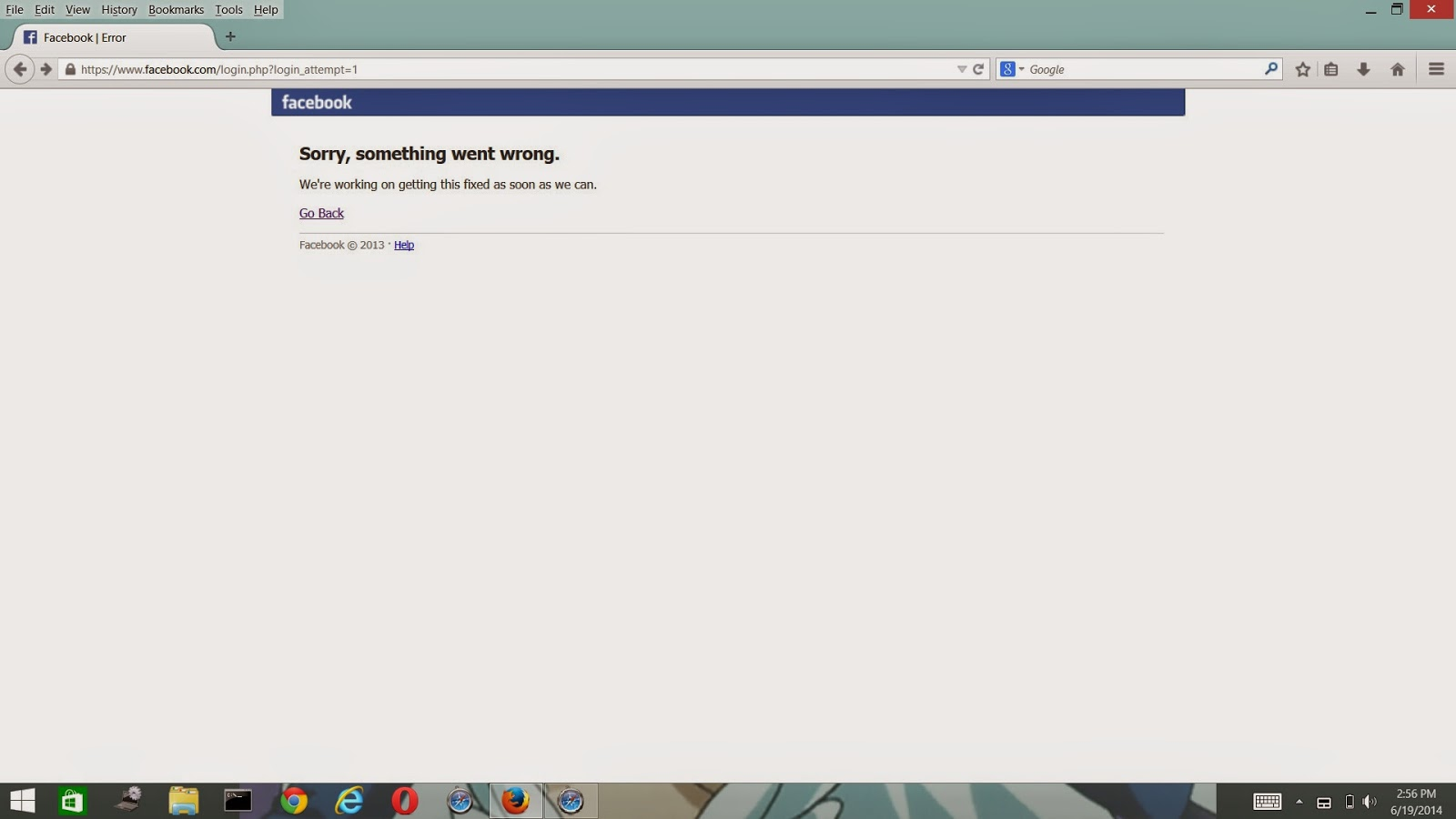 "Facebook Error : ""Sorry, something went wrong"" - Update News"