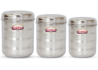 Buy Shubham Kitchen Storage Steel Container 3 Pcs Set at Rs.137 only