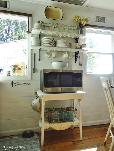 Farmhouse Kitchen Repurposed Vintage Open Shelves Antique Side Table via KnickofTimeInteriors.blogspot.com