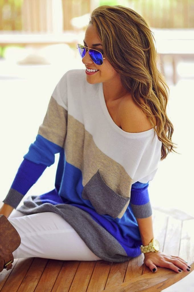 Stripped Sweater With White Jeans