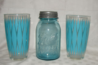 Ball Jar Blue Hazel Atlas glass