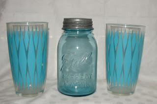 Ball Jar Blue Hazel Atlas glass