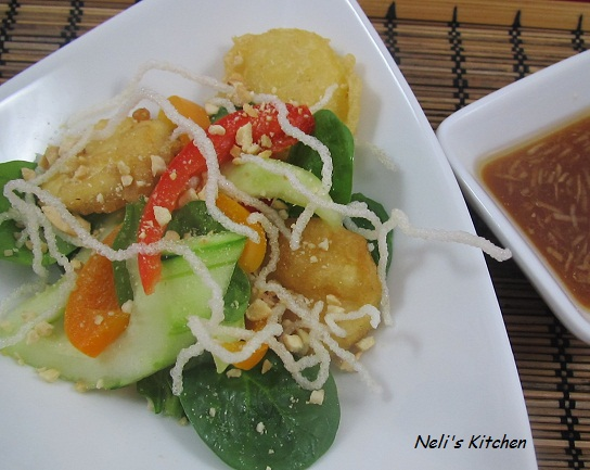 Asian Garden Salad with Tofu and Tamarind Dressing