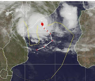 Zyklon FUNSO befindet sich als Hurrikan vor Mosambik, Funso, Januar, 2012, Afrika, aktuell, Indischer Ozean Indik, Zyklonsaison Südwest-Indik, Madagaskar, Satellitenbild Satellitenbilder,