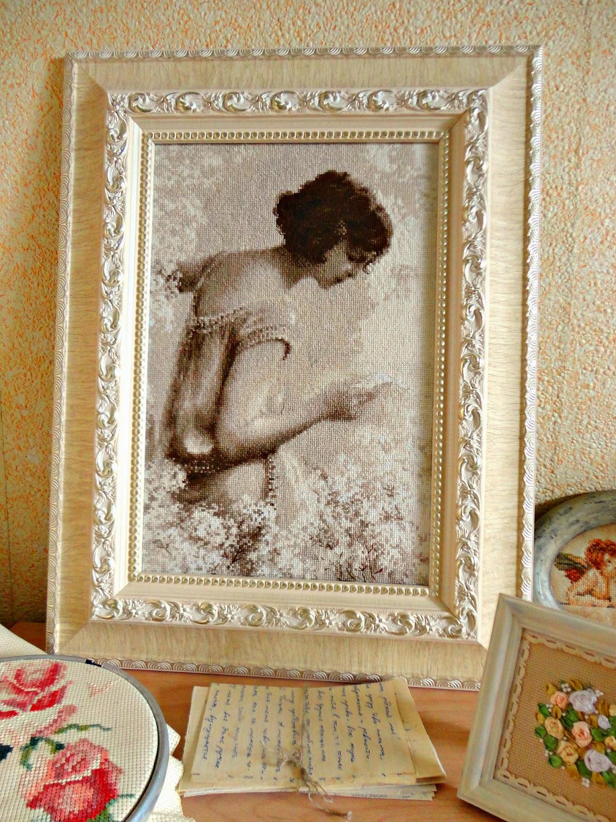 Вышивка старая фотография.письмо