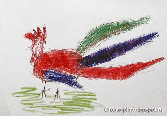 детский рисунок петушок
