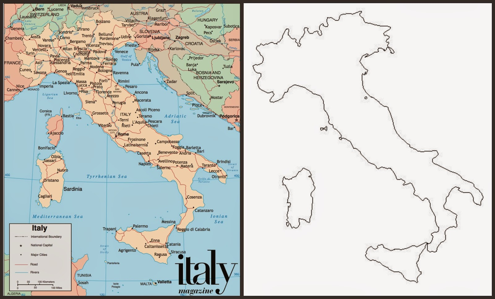 Acorn hill academy august 2014 filled and blank maps of italy sciox Image collections