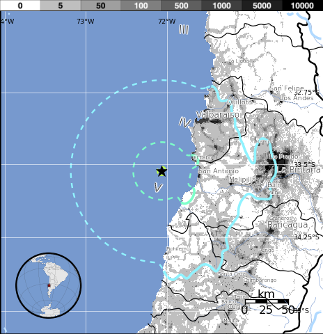 Sismo de 5.6 grados sacudió la zona central de Chile, 04 de Marzo 2014