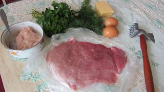 продукты для мясного рулета с яйцом