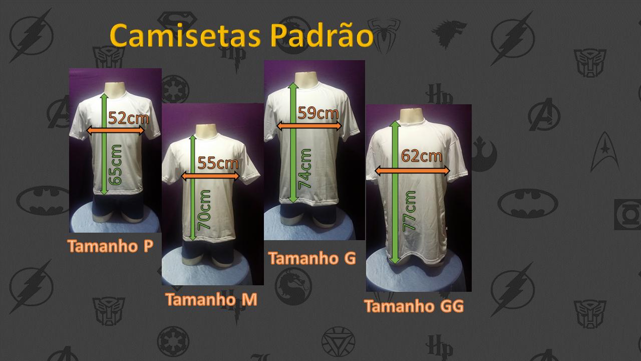tamanhos de camisetas