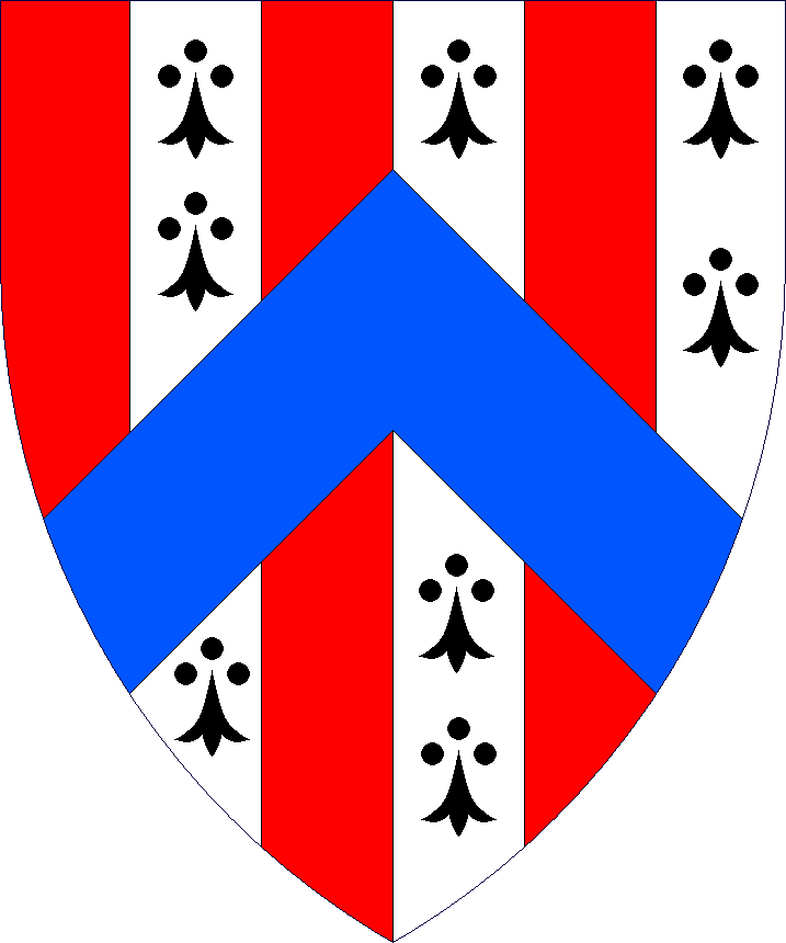 Paly gules and ermine, a chevron azure.