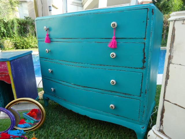 Vintouch muebles reciclados pintados a mano comoda turquesa decapada 4 cajones tiradores - Tiradores de cajones ...