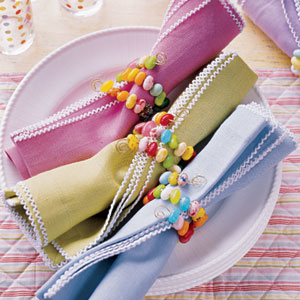 Jelly Bean Napkin Rings by Delish.com