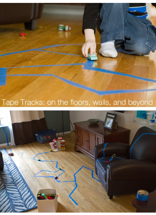 Masking tape roads, and 21 other ways to keep Toddlers out of trouble.  #free #99cent #clevernest #maternity #roundup #bedrest #sickday #preschool #thirdtrimester