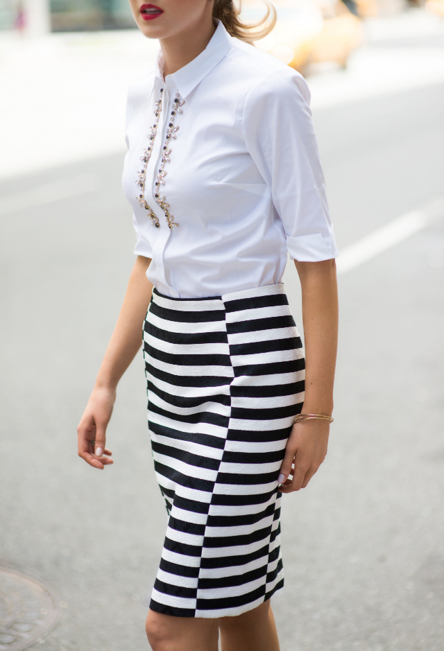 black and white stripe pencil skirt archives memorandum