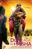 Ayushmann Khurrana carrying Bhumi Pednekar on back in Dum Laga Ke Haisha movie Poster