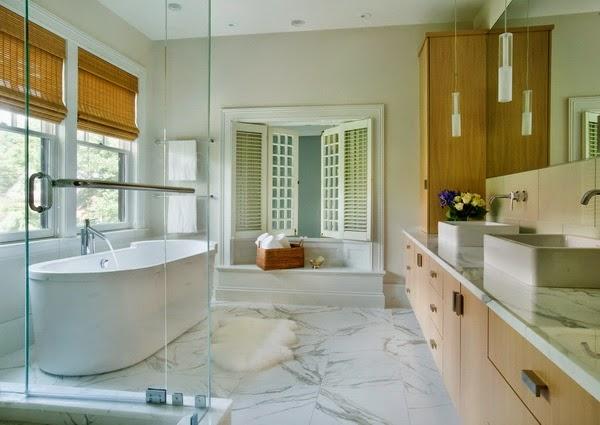 Elegant Bathroom White Stones Floor Idea