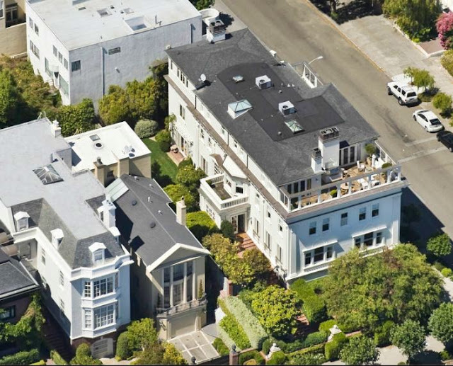 aerial view of the exterior of a san francisco mansion