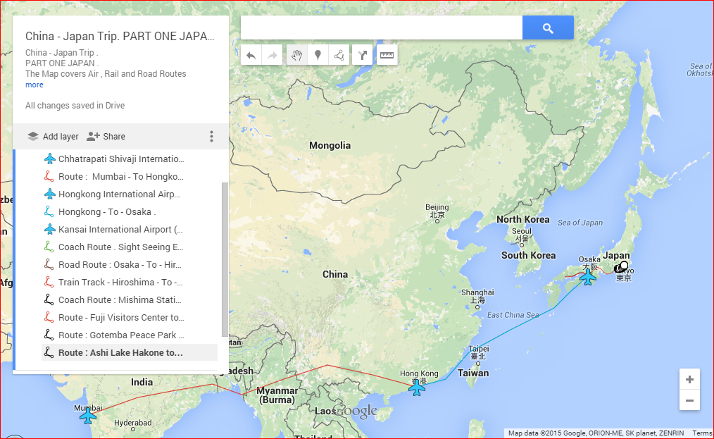 my story My Google Map of China Japan Trip Covering PART ONE