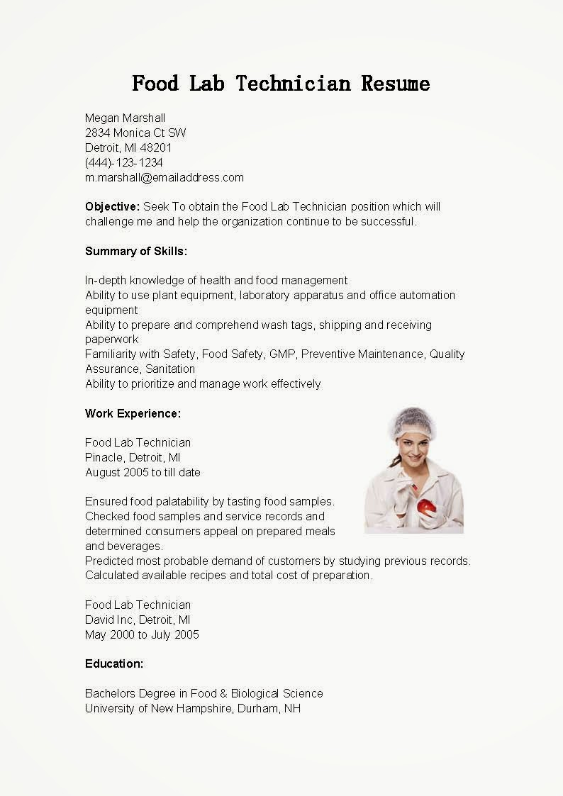 resume sles food lab technician resume sle