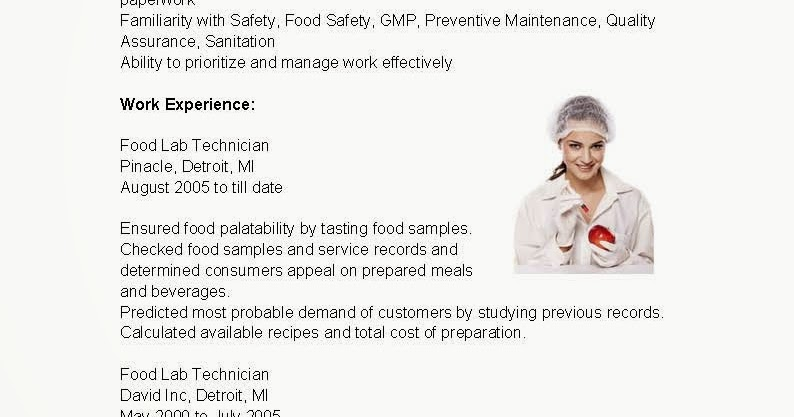 resume samples  food lab technician resume sample