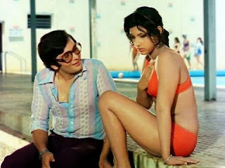 Dimple Kapadia in bikini with Rishi Kapoor