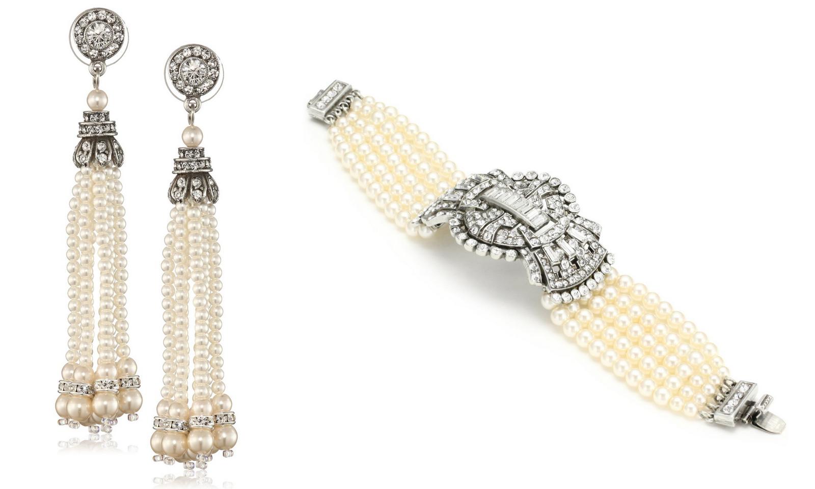 Pearl Deco Bow Bracelet And Pearl And Crystal Tassel Earrings  (below)