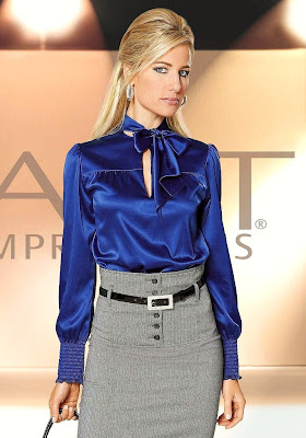 Women's Blue Satin Blouse
