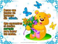 Postal con mensaje de feliz sábado y oso con mariposas