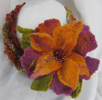 Felted Flower Necklace with Swarovski Embellishments  - 4/14/12